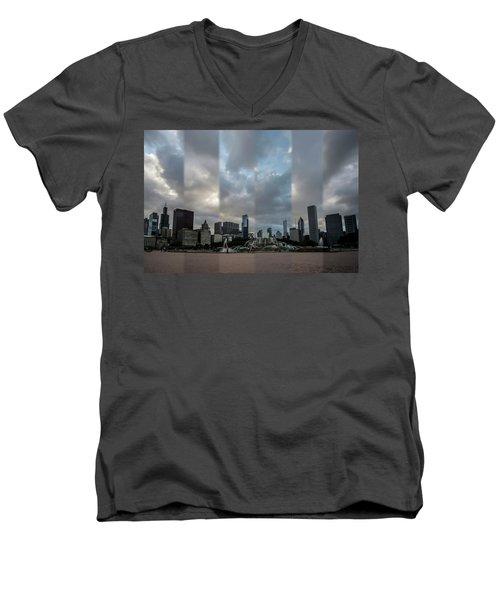 Chicago's Buckingham Fountain Time Slice Photo Men's V-Neck T-Shirt
