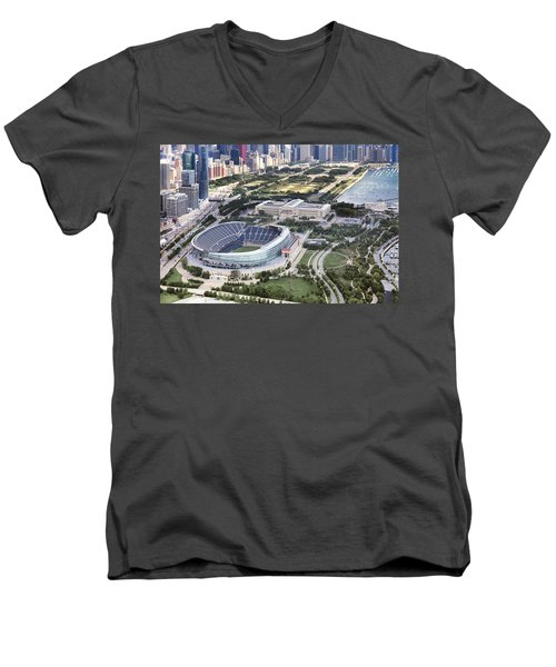 Chicago's Soldier Field Men's V-Neck T-Shirt by Adam Romanowicz