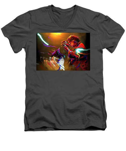 Men's V-Neck T-Shirt featuring the painting Chick Corea by DC Langer