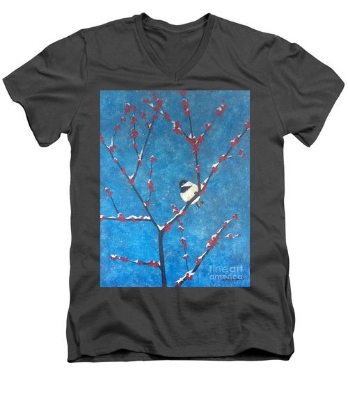 Men's V-Neck T-Shirt featuring the painting Chickadee Bird by Denise Tomasura