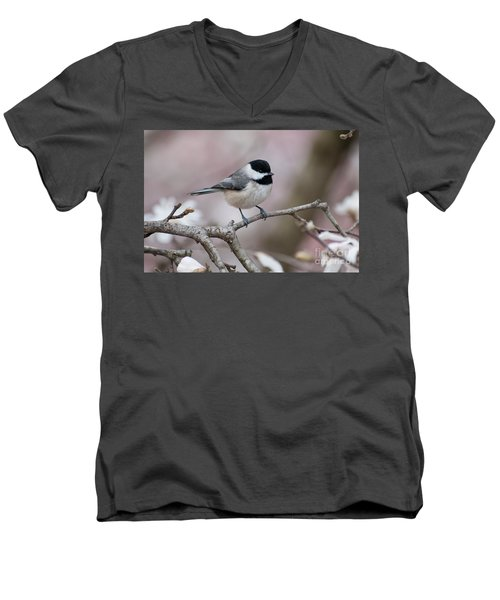 Men's V-Neck T-Shirt featuring the photograph Chickadee - D010026 by Daniel Dempster