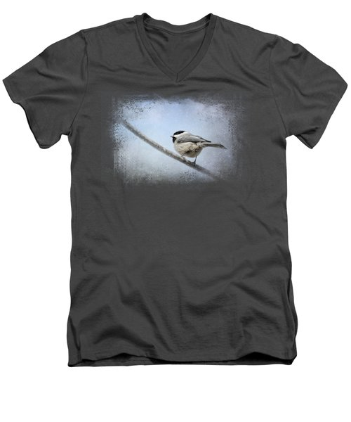 Chickadee In The Snow Men's V-Neck T-Shirt by Jai Johnson