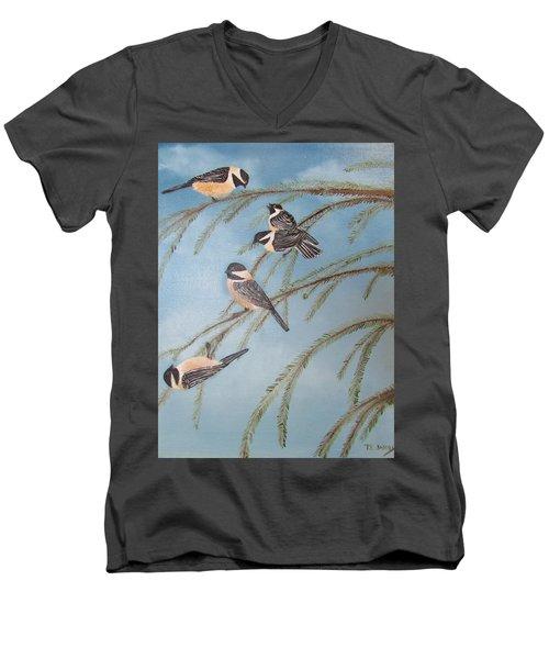 Chickadee Party Men's V-Neck T-Shirt by Thomas Janos