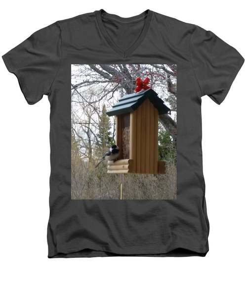 Men's V-Neck T-Shirt featuring the photograph Chickadee by Wendy Shoults