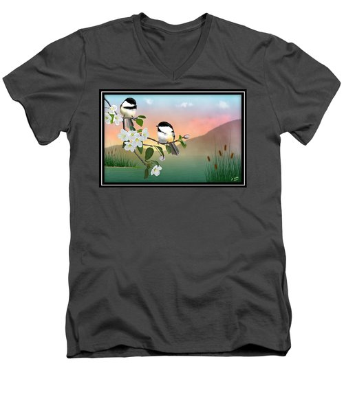 Chickadees And Apple Blossoms Men's V-Neck T-Shirt
