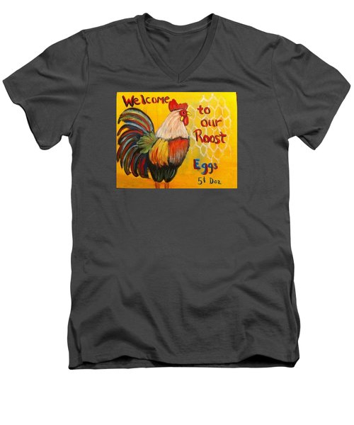 Chicken Welcome Sign 8 Men's V-Neck T-Shirt by Belinda Lawson