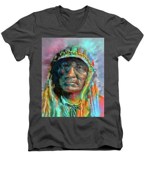 Chief 2 Men's V-Neck T-Shirt by Rick Mosher