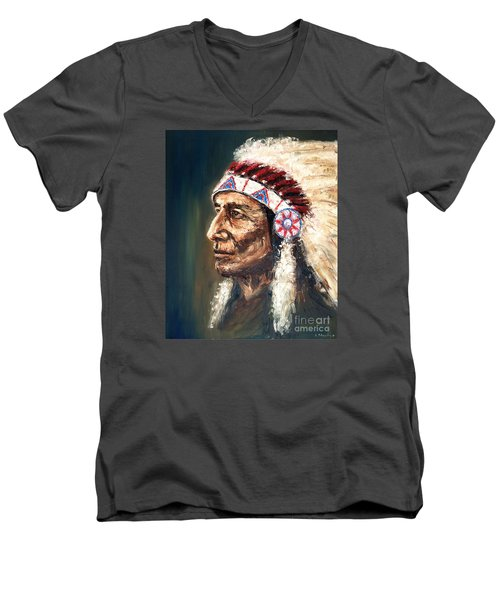 Men's V-Neck T-Shirt featuring the painting Chief by Arturas Slapsys