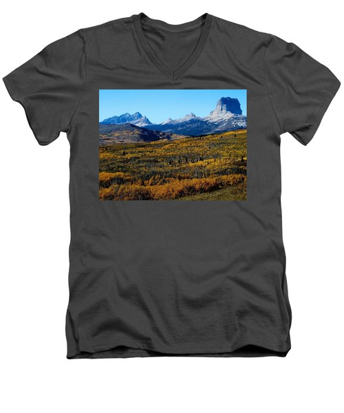 Chief Mountain In The Fall Men's V-Neck T-Shirt