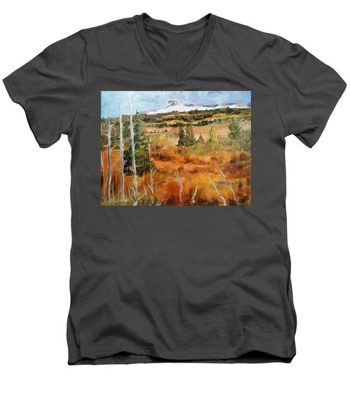 Chief Mountain Men's V-Neck T-Shirt by Larry Hamilton