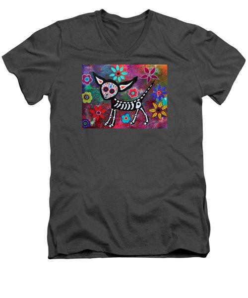 Chihuahua Dia De Los Muertos Men's V-Neck T-Shirt by Pristine Cartera Turkus