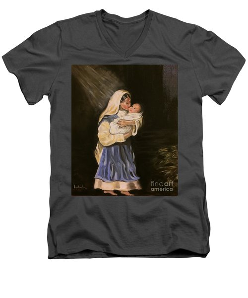 Men's V-Neck T-Shirt featuring the painting Child In Manger by Brindha Naveen