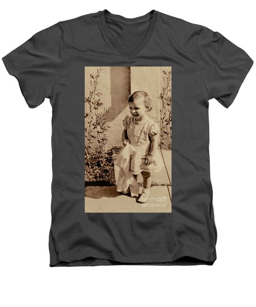 Men's V-Neck T-Shirt featuring the photograph Child Of 1940s by Linda Phelps