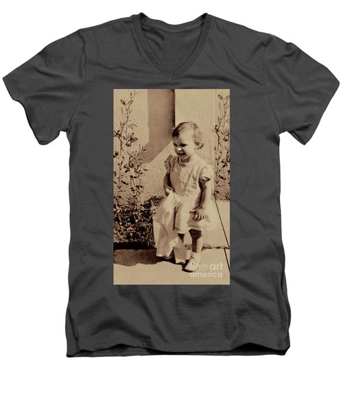Men's V-Neck T-Shirt featuring the photograph Child Of  The 1940s by Linda Phelps