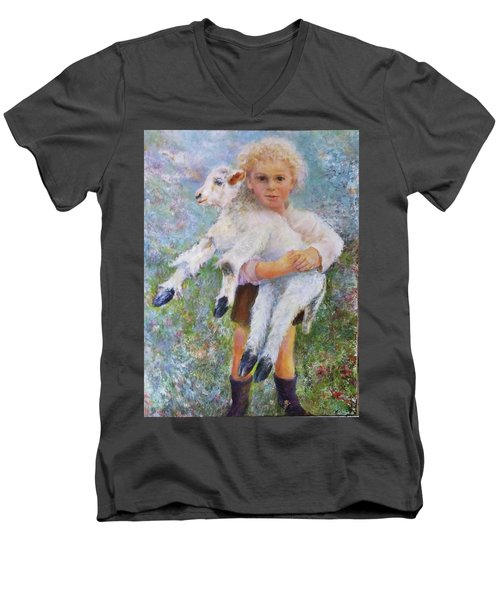 Child With A Lamb Men's V-Neck T-Shirt