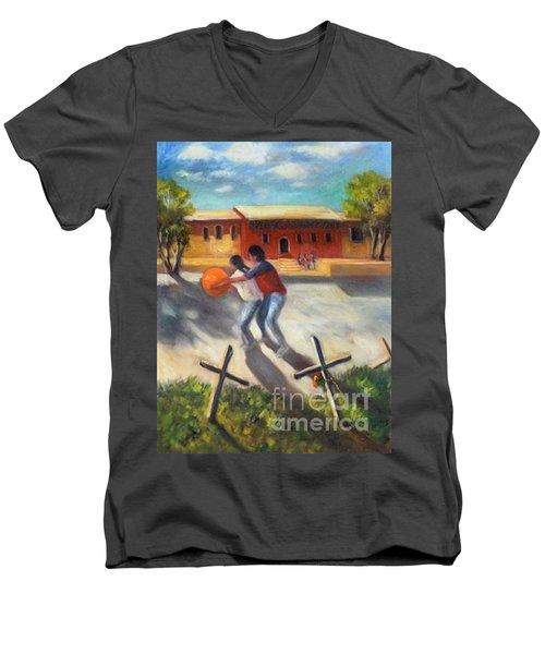 Men's V-Neck T-Shirt featuring the painting Tres Cruces De La Juventud Y La Vejez by Randol Burns