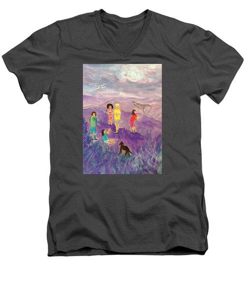 Children Catching Fireflies Men's V-Neck T-Shirt