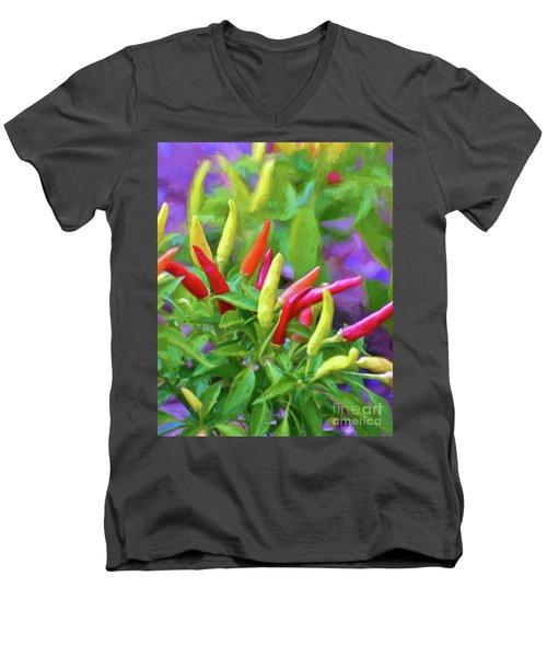 Men's V-Neck T-Shirt featuring the photograph Chili Pepper Art by Kerri Farley