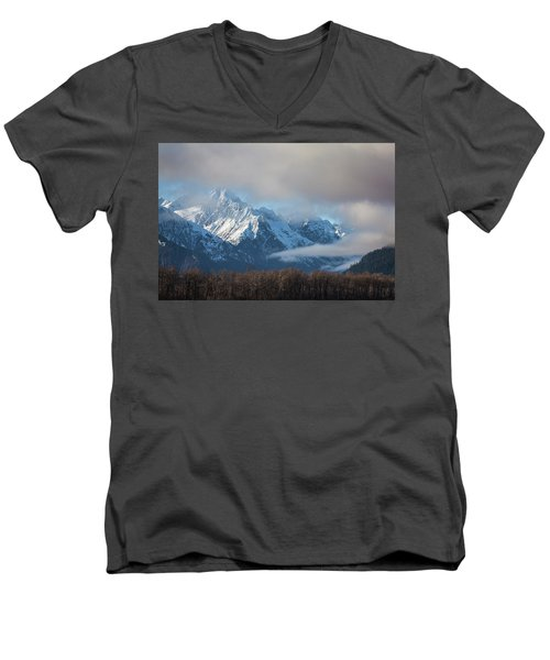 Chilkat Mountains With Clearing Fog Men's V-Neck T-Shirt