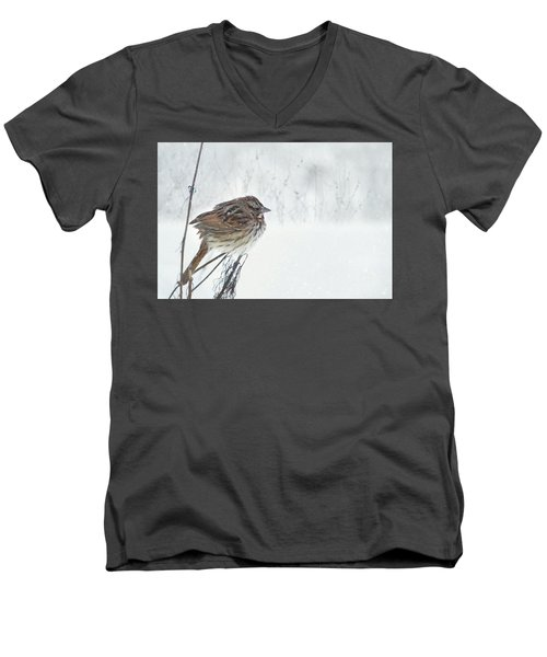 Men's V-Neck T-Shirt featuring the mixed media Chilly Song Sparrow by Lori Deiter