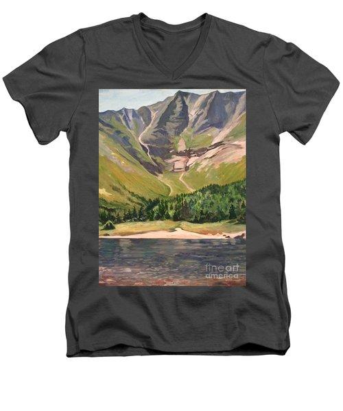 Chimney Pond At Katahdin Basin Men's V-Neck T-Shirt