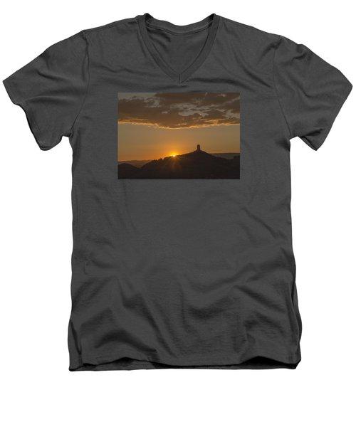Men's V-Neck T-Shirt featuring the photograph Chimney Rock Sunset by Laura Pratt
