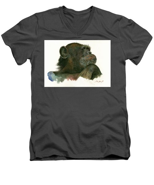 Chimp Portrait Men's V-Neck T-Shirt by Juan Bosco