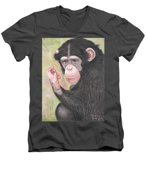 Chimpanzee Men's V-Neck T-Shirt by Brenda Bonfield