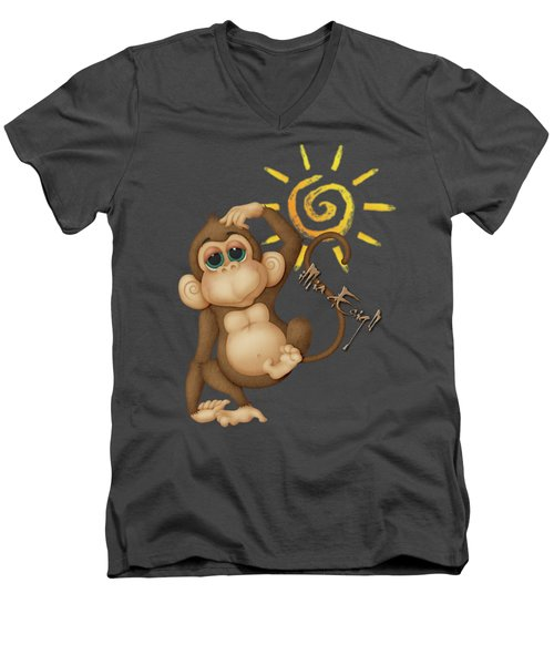 Chimpanzees, Mother And Baby Men's V-Neck T-Shirt by Maria Astedt