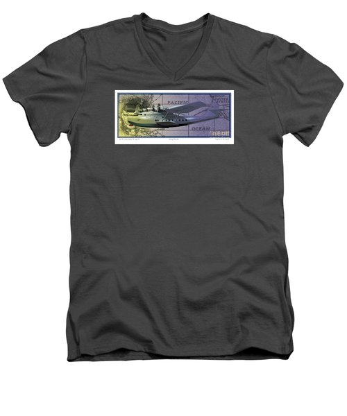 Men's V-Neck T-Shirt featuring the drawing China Clipper Chasing The Sun by Kenneth De Tore