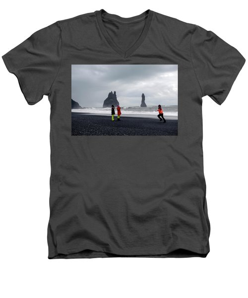 Men's V-Neck T-Shirt featuring the photograph China's Tourists In Reynisfjara Black Sand Beach, Iceland by Dubi Roman