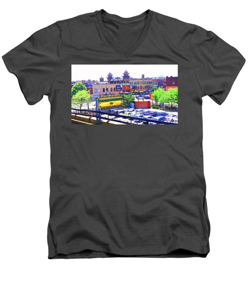 Chinatown Chicago 1 Men's V-Neck T-Shirt by Marianne Dow