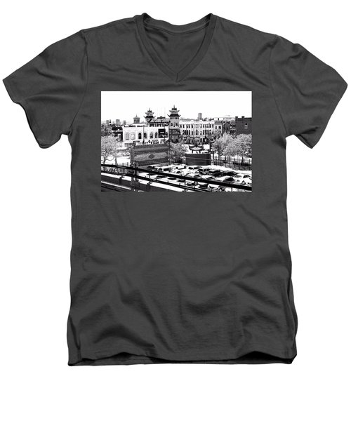 Chinatown Chicago 4 Men's V-Neck T-Shirt by Marianne Dow