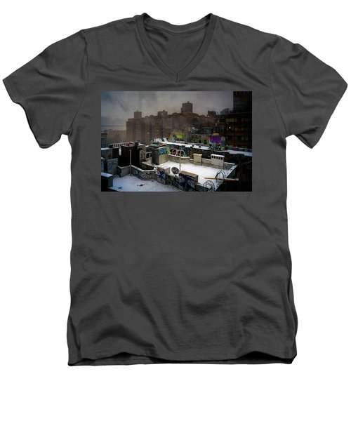 Men's V-Neck T-Shirt featuring the photograph Chinatown Rooftops In Winter by Chris Lord