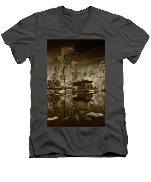 Men's V-Neck T-Shirt featuring the photograph Chinese Botanical Garden In California With Koi Fish In Sepia Tone by Randall Nyhof