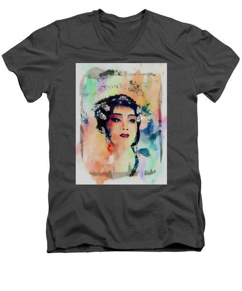 Chinese Cultural Girl - Digital Watercolor  Men's V-Neck T-Shirt