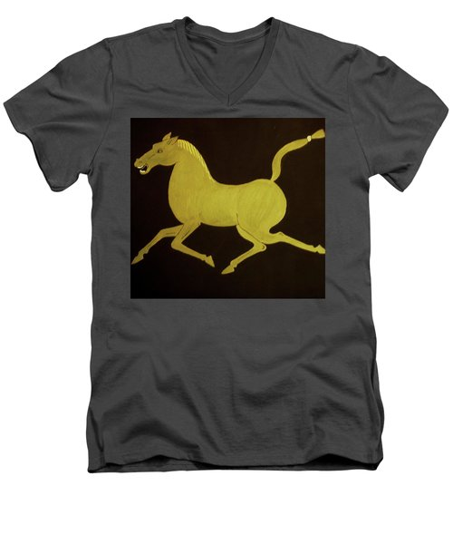 Men's V-Neck T-Shirt featuring the painting Chinese Horse by Stephanie Moore