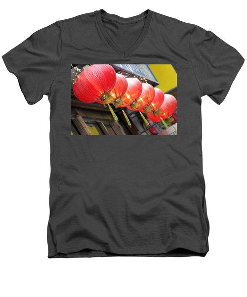 Chinese Lanterns Men's V-Neck T-Shirt