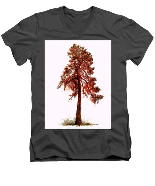 Chinese Pine Tree Drawing Men's V-Neck T-Shirt by Maja Sokolowska