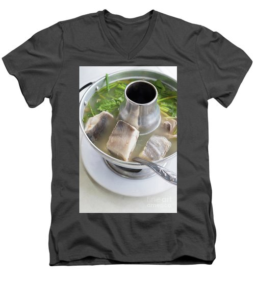 Men's V-Neck T-Shirt featuring the photograph Chinese Silver Pomfret Soup by Atiketta Sangasaeng