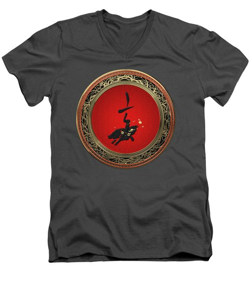 Chinese Zodiac - Year Of The Pig On Red Velvet Men's V-Neck T-Shirt