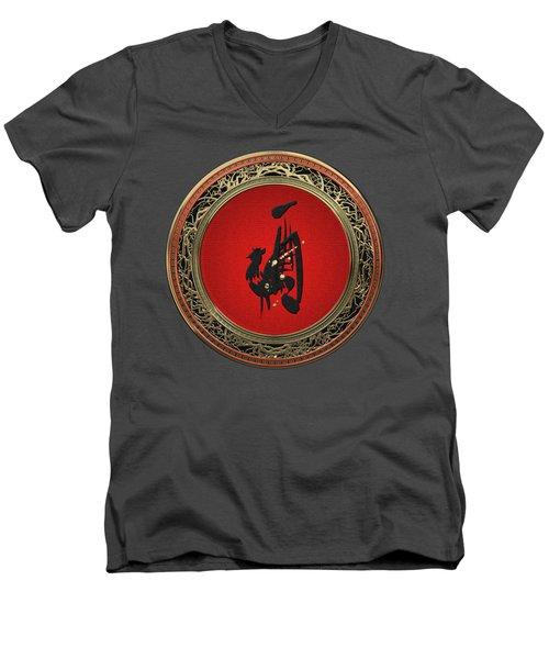 Chinese Zodiac - Year Of The Rooster On Red Velvet Men's V-Neck T-Shirt