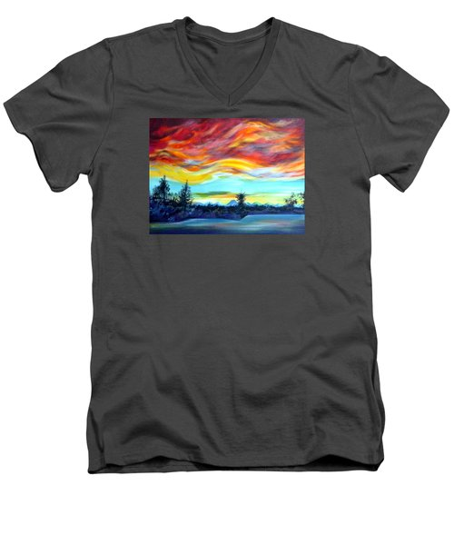 Chinook Arch Over Bow River Men's V-Neck T-Shirt by Anna  Duyunova