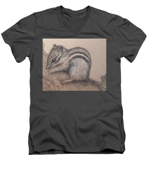 Men's V-Neck T-Shirt featuring the drawing Chipmunk, Tn Wildlife Series by Annamarie Sidella-Felts