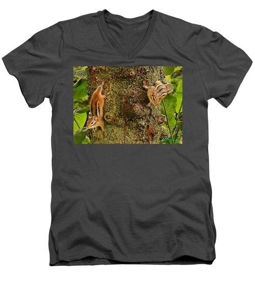 Chipmunks Men's V-Neck T-Shirt by John Selmer Sr