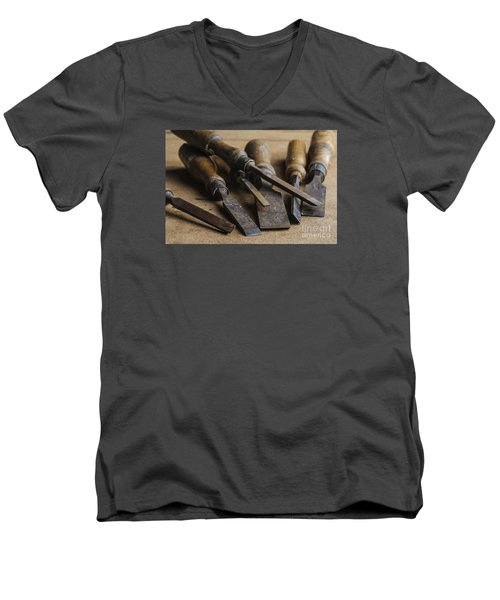 Men's V-Neck T-Shirt featuring the photograph Chisels by Trevor Chriss