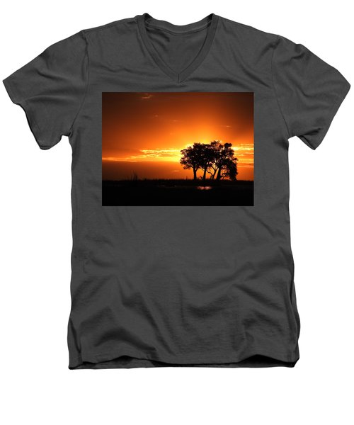 Men's V-Neck T-Shirt featuring the photograph Chobe River Sunset by Betty-Anne McDonald