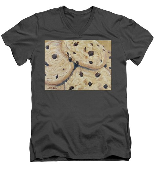 Men's V-Neck T-Shirt featuring the painting Chocolate Chip Cookies by Nancy Nale