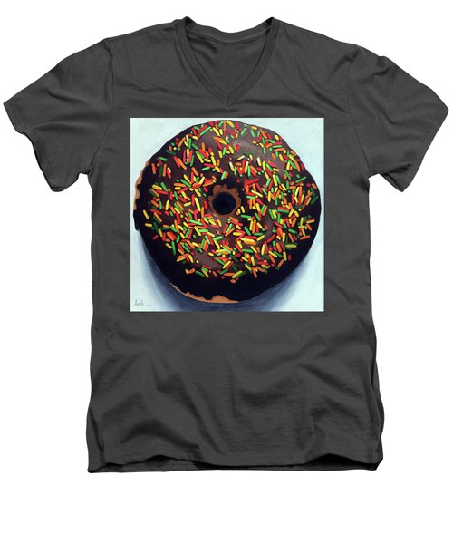 Chocolate Donut And Sprinkles Large Painting Men's V-Neck T-Shirt