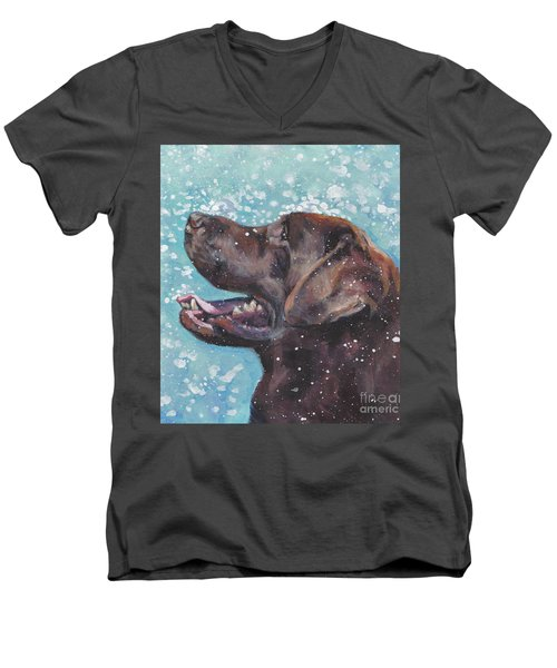 Men's V-Neck T-Shirt featuring the painting Chocolate Labrador Retriever by Lee Ann Shepard
